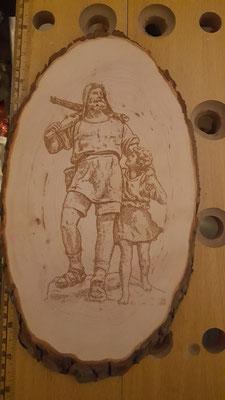 Tell der Schweizer Held auf einem Rindenholzbrett ca 35cm lang