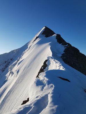 Auf dem Walchergrat zum Gross Fiescherhorn: Links die weit abfallende Nordwand und kurz vorm Gipfel die Steileispassage