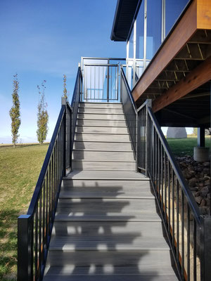 Covered deck addition stairs