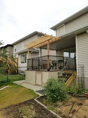 Covered deck roof addition cedar pergola