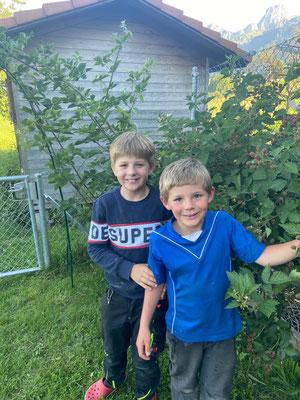 unsere Buben im Garten