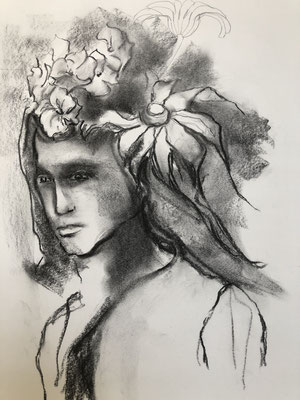 Kohle, Bleistift auf Papier,  2019, 41 x 30