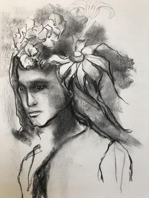 Kohle, Bleistift auf Papier,  2019, 41 x 30 cm