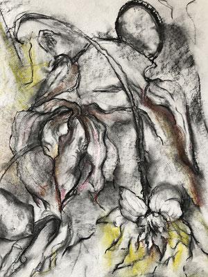 Kohle, Pastellkreide auf Papier, 2020, 56 x 42 cm