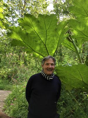 Gerd wie in einem seiner Gemälde, mit Riesenrhabarberblättern!