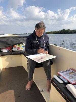 Wir malen auf dem Boot.