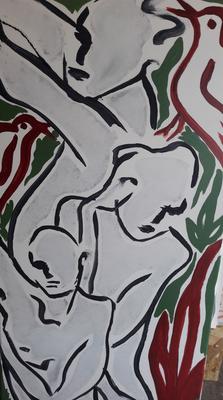 """ClaireBMasimbert, """"cascade"""", Encres de chine, encres acrylique, 100x50 cm, 2019"""