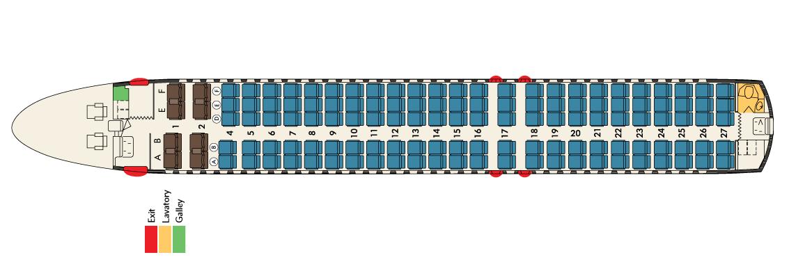 Sitzplan mit 128 Sitzplätzen/Hawaiian Airlines