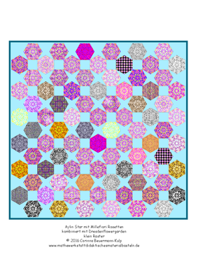 Das Millefiori Muster ist gezeichnet und wurde dann in Hexagons gepackt.
