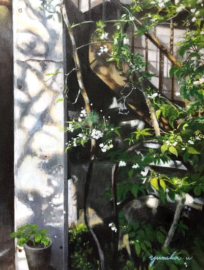 「木香薔薇の咲く頃」パステル・アクリル・キャンバス F4