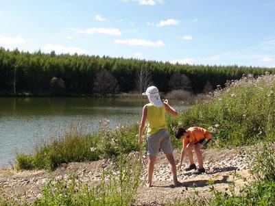 孩子們投擲石塊到佔地2公頃的湖泊中