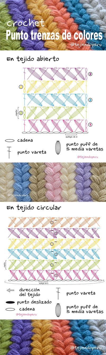 Punto trenzas de colores a crochet - Tejiendo Perú