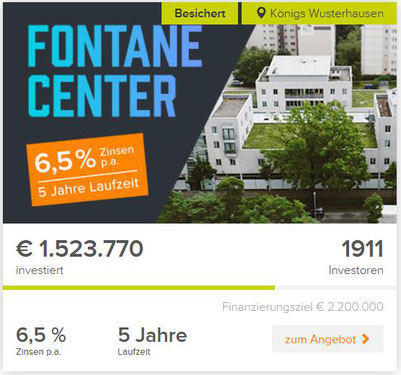 freaky finance, Crowdinvestiment, Crowdinvesting, Bergfürst, Projekt Fontane Center, Screenshot