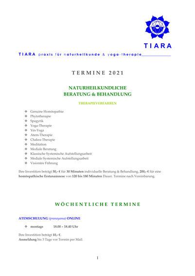 Terminübersicht 2019, TIARA praxis für naturheilkunde & yoga-therapie