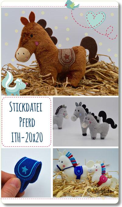 Sticktier Stickdatei Pony, Pferd für die Stickmaschine von Sticktier