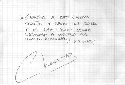 Primer Autógrafo dedicado al Club De Fans Oficial