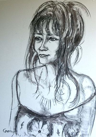 Iazel Vallorca, écrivain - Pastel sur papier.