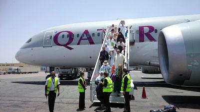モロッコの玄関口、カサブランカに飛行機が付いたところです