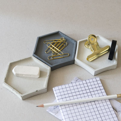 Concrete Hexagon Tray Set PASiNGA desk decor