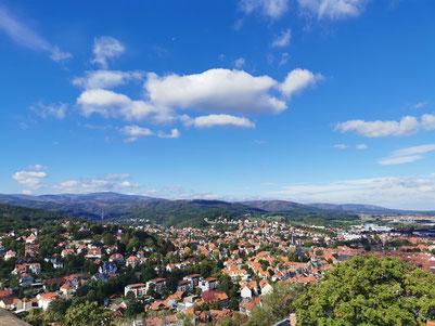 Blick vom Schloss Wernigerode in das Tal und auf den Brocken