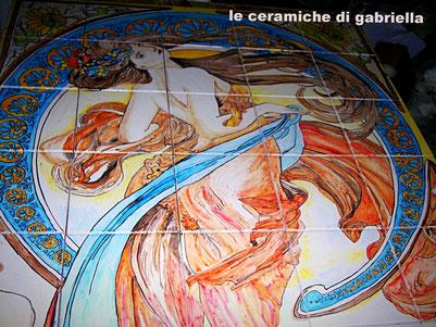 pannello in ceramica art nouveau liberty