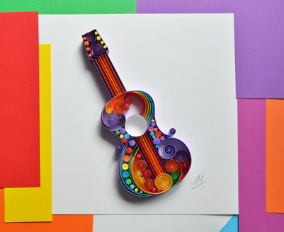 Guitar, Quilling wall art, Guitar framed art, Birthday gift, Music art, Gift for musician