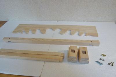 雲板x1 天井部枠木x1 支柱x2 土台x2 ビス2種類x2  ビスキャップx2