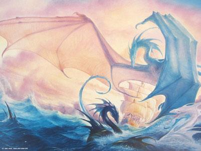 Tintaglia, la Vivacia et les serpents de mer, par John Howe