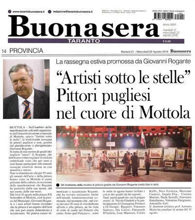 """Articolo di """"Buonasera Taranto"""" del 22 agosto 2018"""