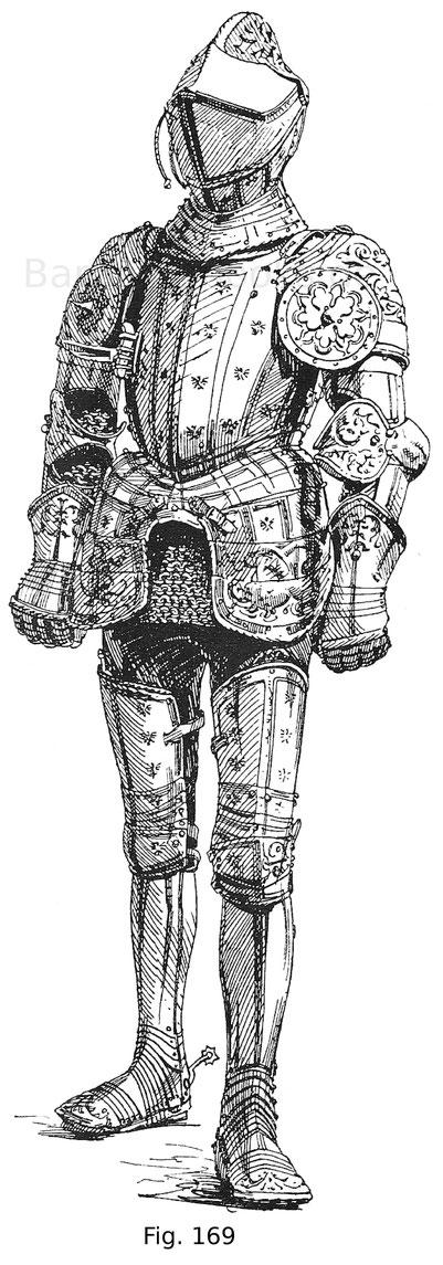 """Fig. 169. Ganzer Feldharnisch mit geätzten und vergoldeten Strichen und Emblemen, genannt """"mit den Adlern"""" des Erzherzogs Ferdinand von Tirol (1529—1595), gefertigt von dem kaiserlichen Hofplattner Jörg Seusenhofer in Innsbruck 1547. Die Ätzungen sind von"""