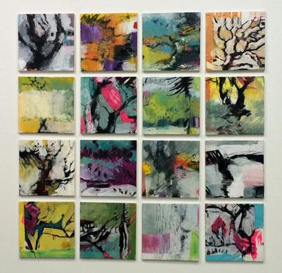 Rosemarie Vollmer, Landschaftsassoziationen, 2018, 16-teilig, je 40 x 40 cm, Mischtechniken auf Leinwand