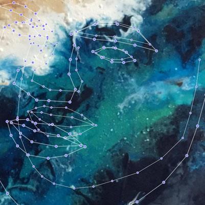 """Annette Hünnekens, AR re-cognition II n-1, 2019 Acrylglas, 40 x40 cm, Digitaldruck mit Augmented Reality hinter Acryl,  Teil des gleichnamigen Triptychons """"re-cognition"""" mit Gesichtserkennungsalgorithmus"""