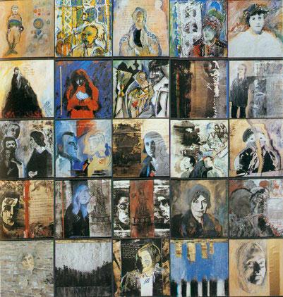 Brigitte Nowatzke-Kraft, Besuche bei Jussuf - Prinz von Theben. Fragmente aus dem Leben der Else Lasker-Schüler. 1995, Mischtechnik, 162 x 162 cm