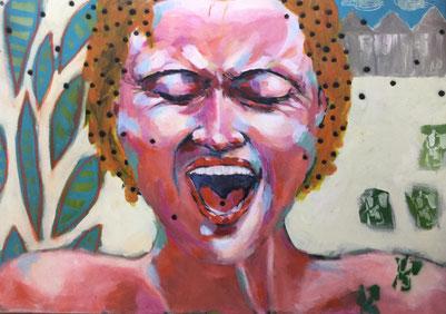 Gloria Keller, Malerei, Schreiende Frau, Plakatmotiv für POTENZIALE 2019