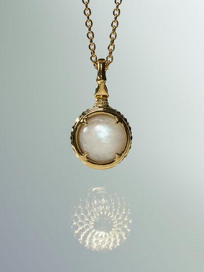 A dragon's jewel NUBUSHI-TAMA that prays at Okinawa's Utaki. Blue Moonstone Power Stone Pendant Necklace