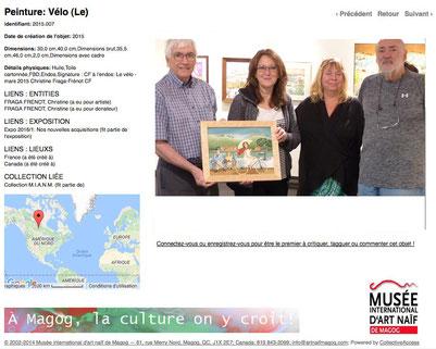 LE VÉLO, huile sur carton toilé signée CF. Avec Pierre ROY Président du Musée MIANM, Manon LAVOIE et Jacques DUPONT Administrateur du MIANM.