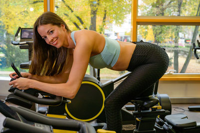 Anita beim Spinning-Training