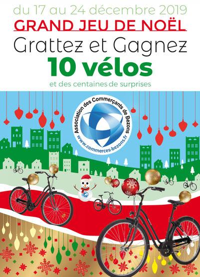 Noël 2019 - Grand Jeu de Grattage avec l'Association des Commerçants de Bezons - 10 Vélos à gagner !