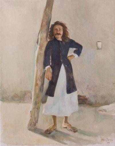 Meher Baba in His favourite Kamli Coat, Meherabad 1927 ; Artist - Gregg Rosen