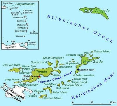 Geographische Lage der  Britischen Jungferninseln