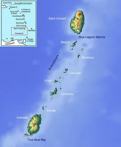 Geographische Lage von Grenada und St.Vincent