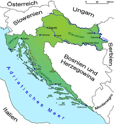 Geographische Lage Kroatiens