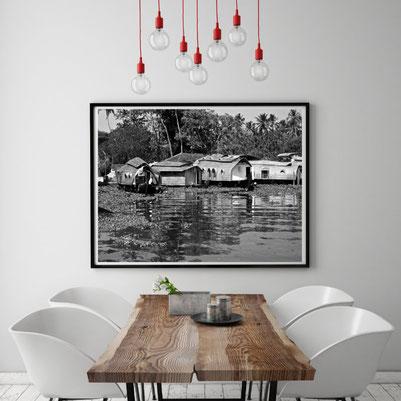 Fotografie Indien, Kerala, Backwaters, Hausboot