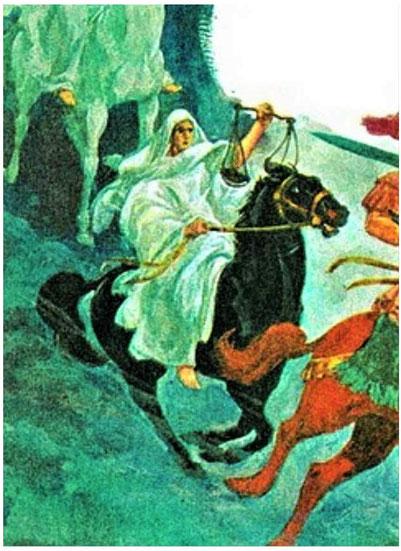 La balance portée par le 3e cavalier de l'Apocalypse chevauchant le cheval noir annonce la difficulté de se nourrir. Ce cavalier annonce la faim, voire la famine. Difficile de s'approvisionner ou réservé aux riches ou à ceux qui ont porté allégeance.