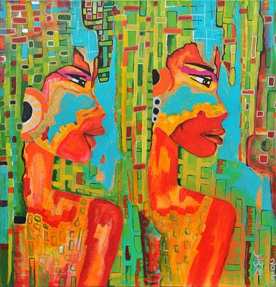 zwei Frauen, Mädchen schauen gemeinsam in eine Richtung