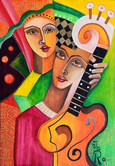 zwei stehen zusammen und spielen Gitarre