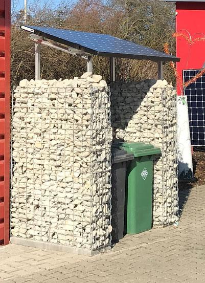 Beispiel einer Solarüberdachung als Mülltonnenunterstellplatz