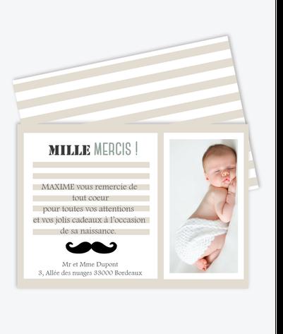 carte de remerciement garçon pastel et pas cher-moustache-rayure-noi et taupe