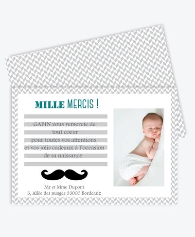 Carte de remerciement naissance garçon pastel et pas cher-moustache-chevron-rayure-gris et bleu canard