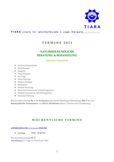 Terminübersicht 2021, TIARA praxis für naturheilkunde & yoga-therapie